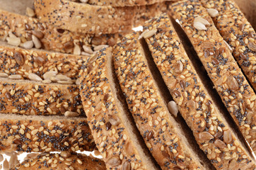 Slices  whole grain bread.Macro with shallow dof. .