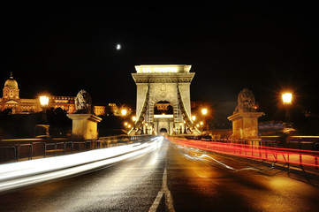 Chain Bridge at night with traffic light trails, Budapest