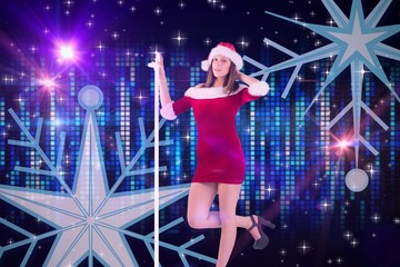 Composite image of pretty santa girl posing with hand