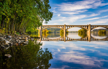 The Veterans Memorial Bridge reflecting in the Susquehanna River