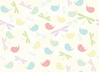 Seamless pattern with birds and dragonflies