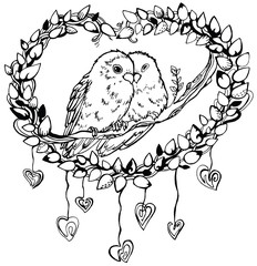 Romantic image of a pair of parrots lovebirds, line drawing