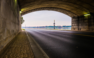 Tunnel on a road along the Potomac River in Washington, DC.