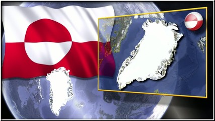 Greenland flag and map animation