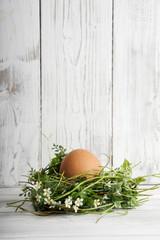 Studio, Ostern, Osternest mit Hühnerei als Deko vor Holz