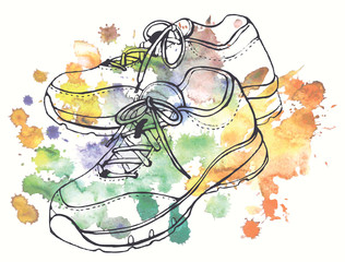 Two linear images of a pair of sneakers on watercolor background