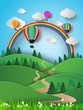 Hot air balloon high in the sky with rainbow.Vector illustration - 75121082