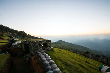 bunker on border hill ,Doi Chang Mub at sunset twilight Chiangra
