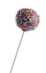 Sweet cake pop isolated on white