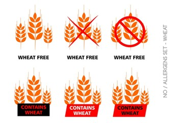 Brown Wheat Free Signs isolated on white background