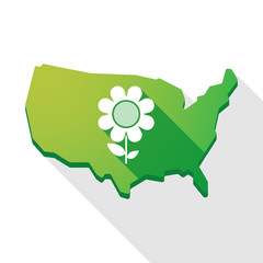 USA map icon with a flower