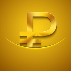 Vector modern gold ruble icon background.