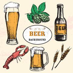 hand drawn illustration beer vintage background
