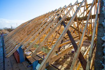 Roofing construction.Wooden construction