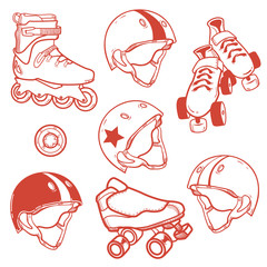 set of roller skates helmets wheel