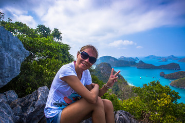 View from mountain on  Angthong Marine National Park and posing