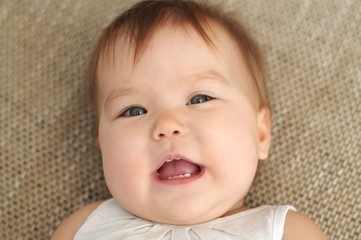 Baby smiling portrait