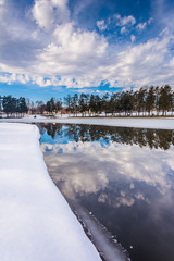 Winter reflections at Kiwanis Lake, in York, Pennsylvania.