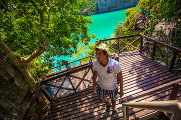 View wooden platform near  blue lagoon. Marine national park and