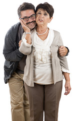 Senior adult woman with his son isolated on white background.