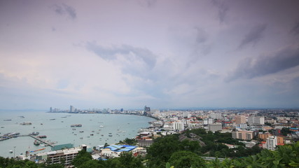 Clouds running over Pattaya sea beach city Thailand,Time lapse.