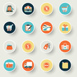 Shopping modern flat color icons.