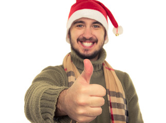 portrait of a smiling guy in a Christmas hat