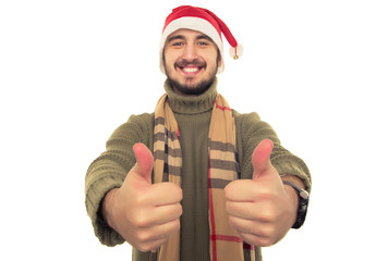 "smiling guy in Christmas hat showing ""everything is fine"""
