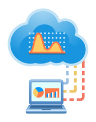Cloud, computing, electronic, financial analysis, service illust