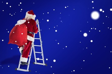 Composite image of santa steps up a ladder