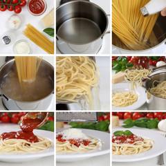 Spaghetti Nudeln Pasta mit Tomaten Sauce und Basilikum kochen: A