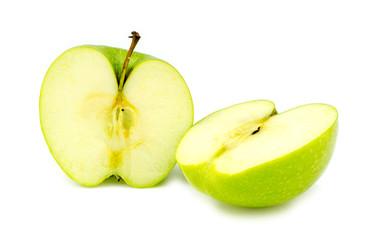 Chopped halves of fresh organic green granny smith apple