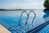 Swimming pool near Khong river with  blue sky  ,Chiangsan in Chi