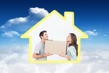 Composite image of cheerful woman and her husband holding a box