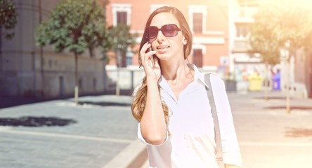 Successful Young Businesswoman Talking Business Phone Cellphone