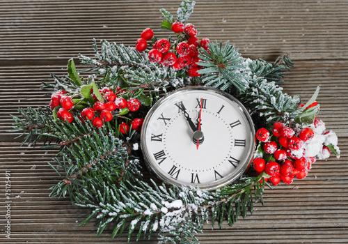 Leinwandbild Motiv Christmas clock with winter decoration