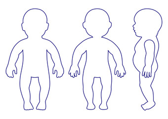 Full length front, side, back view standing, lying baby outlined