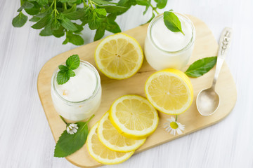 Fresh yogurt with lemon. Small depth of field
