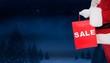 Composite image of santa claus holding sale bag