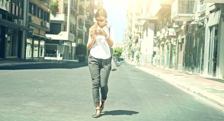Young Beautiful B Businesswoman Walking Street Using Smart Phone