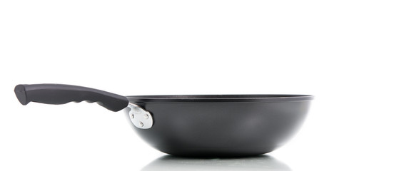 Closeup black frying pan isolated