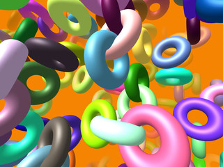 Flying rings generated 3D background