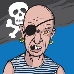 Portrait of furious pirate