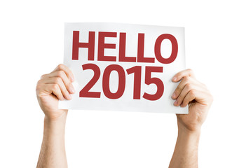 Hello 2015 card isolated on white background