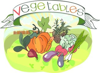 Vegetables with title
