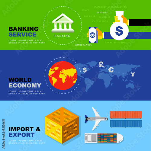 Banking Service, World Economy, Import and Export. Business Econ