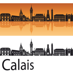 Calais skyline in orange background
