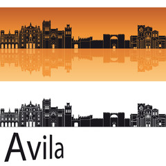 Avila skyline in orange background