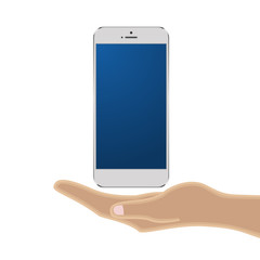 Vector Phone Cell Smart on hand. Isolated on white background.