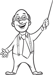 whiteboard drawing - smiling professor with pointer